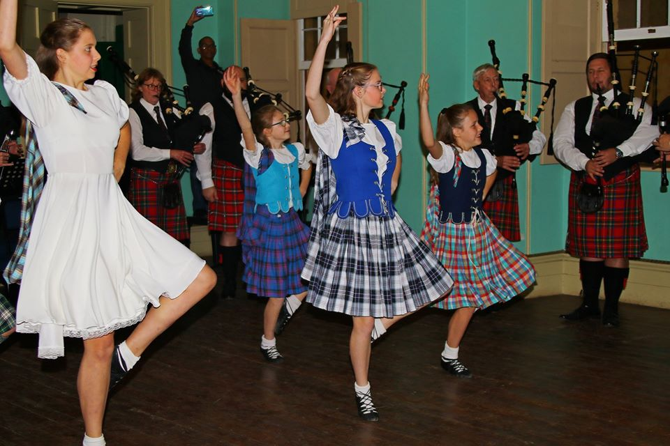 Albion school of Highland Dancing accompanied by Nelson Mandela Artillery bagpipes and drums
