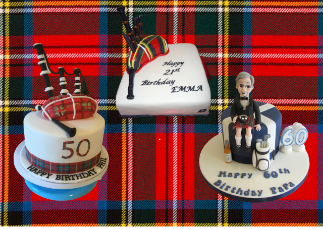 A Royal Stewart tartan background with birthday cakes that feature bagpipes