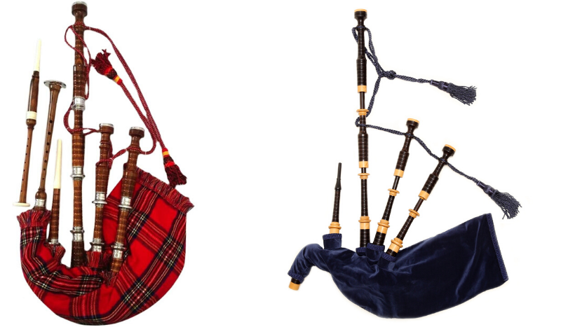 Two different types of bagpipes
