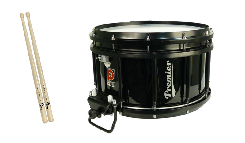 The snare drum and sticks