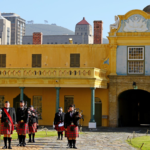 Nelson Mandela Artillery Pipes and Drums in the shadow of the castle of Good Hope in Cape Town