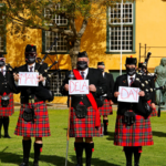 Nelson Mandela Artillery bagpipes and drums showing support for Mandela Day