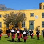 Nelson Mandela Artillery bagpipes and drums showing support for Mandela Day at the Castle of Good Hope