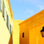 The orange walls of the old castle of Good Hope in Cape Town